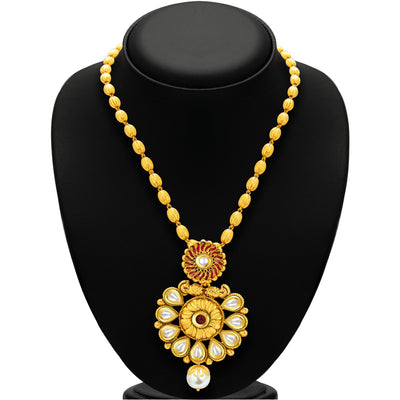 Sukkhi Glistening Gold Plated Kundan Necklace Set For Women-3