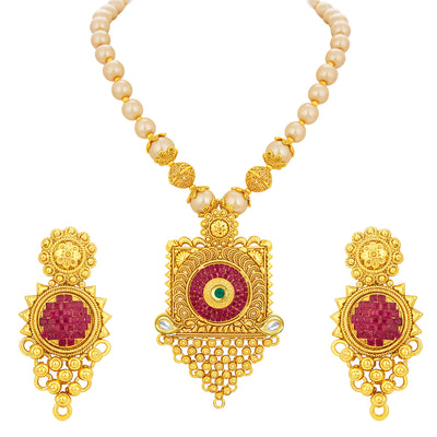Sukkhi Exquisite Invisible Setting Jalebi Gold Plated Necklace Set For Women