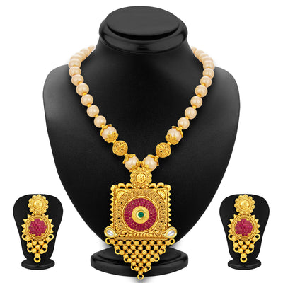 Sukkhi Exquisite Invisible Setting Jalebi Gold Plated Necklace Set For Women-1