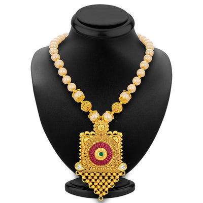 Sukkhi Exquisite Invisible Setting Jalebi Gold Plated Necklace Set For Women-3