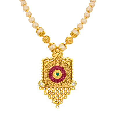 Sukkhi Exquisite Invisible Setting Jalebi Gold Plated Necklace Set For Women-2