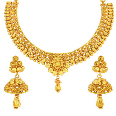 Sukkhi Fancy Laxmi Temple Jalebi Gold Plated Necklace Set For Women