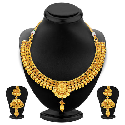 Sukkhi Fancy Laxmi Temple Jalebi Gold Plated Necklace Set For Women-1