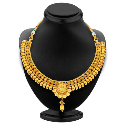 Sukkhi Fancy Laxmi Temple Jalebi Gold Plated Necklace Set For Women-3