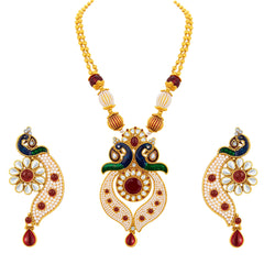 Sukkhi Glimmery Peacock Gold Plated Necklace Set For Women