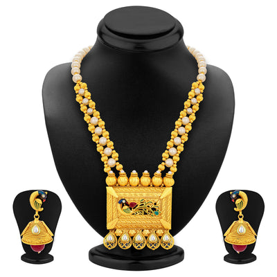 Sukkhi Fashionable Peacock Gold Plated Kundan Necklace Set For Women-1
