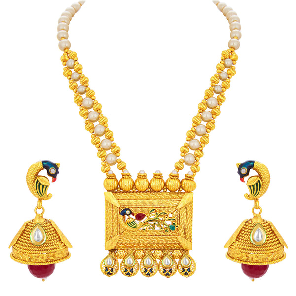 Sukkhi Fashionable Peacock Gold Plated Kundan Necklace Set For Women