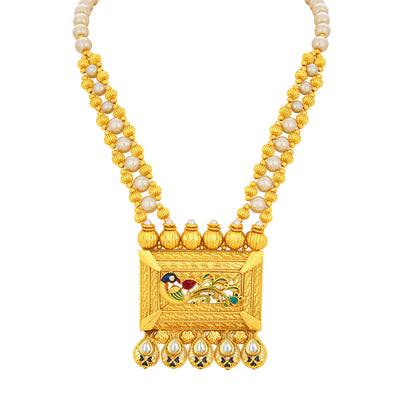 Sukkhi Fashionable Peacock Gold Plated Kundan Necklace Set For Women-2
