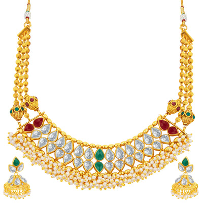Sukkhi Brilliant Gold Plated American Diamond Necklace Set For Women
