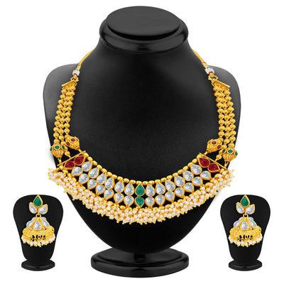 Sukkhi Brilliant Gold Plated American Diamond Necklace Set For Women-1