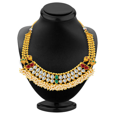 Sukkhi Brilliant Gold Plated American Diamond Necklace Set For Women-3