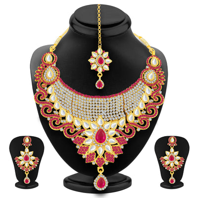 Sukkhi Incredible Gold Plated AD Necklace Set For Women