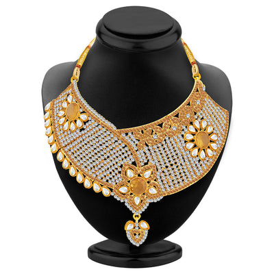 Sukkhi Stunning Gold Plated AD Necklace Set For Women-2