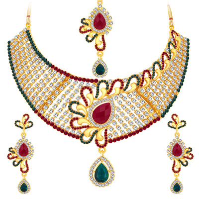 Sukkhi Fashionable Gold Plated AD Necklace Set For Women-1