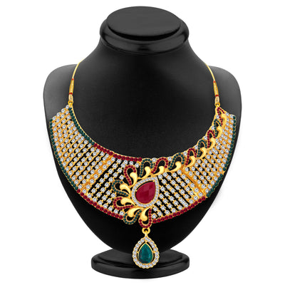 Sukkhi Fashionable Gold Plated AD Necklace Set For Women-2