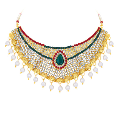 Sukkhi Glistening Gold Plated AD Necklace Set For Women-3