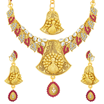 Sukkhi Delightly Gold Plated AD Necklace Set For Women