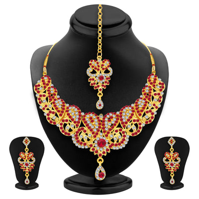 Sukkhi Fashionable Gold Plated AD Necklace Set For Women