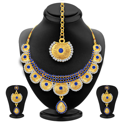 Sukkhi Bewitching Gold Plated AD Necklace Set For Women