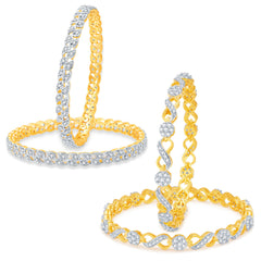 Sukkhi Pleasing Gold Plated CZ Set of 2 Pair Bangle Combo For Women