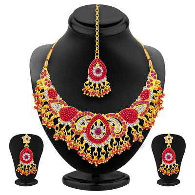 Sukkhi Glittery Gold Plated AD Necklace Set For Women