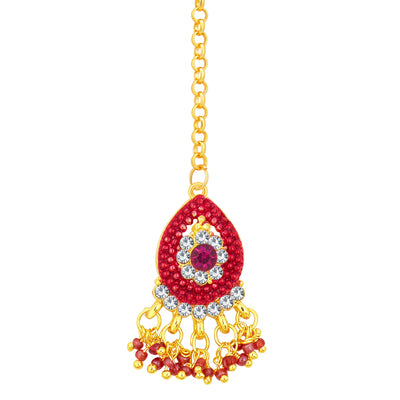 Sukkhi Glittery Gold Plated AD Necklace Set For Women-7