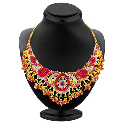 Sukkhi Glittery Gold Plated AD Necklace Set For Women-2