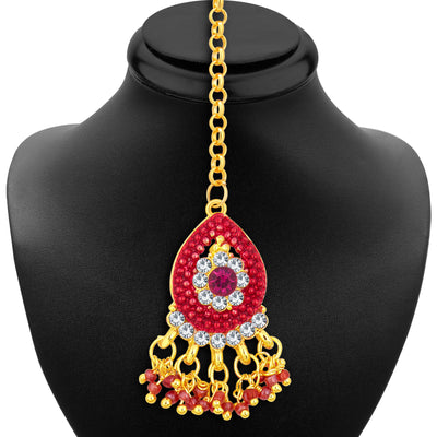 Sukkhi Glittery Gold Plated AD Necklace Set For Women-6