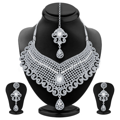 Sukkhi Delightful Rhodium Plated AD Necklace Set For Women