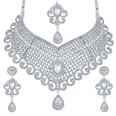 Sukkhi Delightful Rhodium Plated AD Necklace Set For Women-1