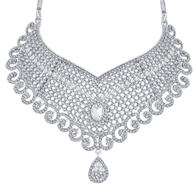 Sukkhi Delightful Rhodium Plated AD Necklace Set For Women-3