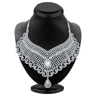 Sukkhi Delightful Rhodium Plated AD Necklace Set For Women-2