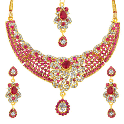 Sukkhi Pretty Gold Plated AD Necklace Set For Women-1