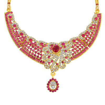 Sukkhi Pretty Gold Plated AD Necklace Set For Women-3