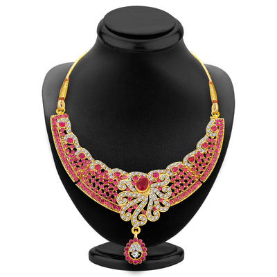 Sukkhi Pretty Gold Plated AD Necklace Set For Women-2