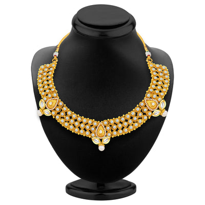 Sukkhi Ethnic Gold Plated AD Necklace Set For Women-3