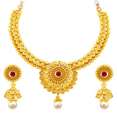 Sukkhi Delightly Jalebi Gold Plated Necklace Set For Women