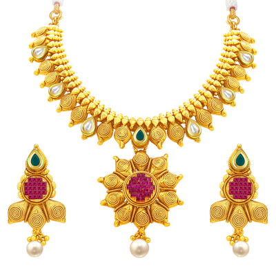 Sukkhi Magnificent Jalebi Gold Plated American Diamond Necklace Set For Women