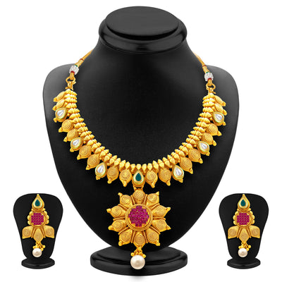 Sukkhi Magnificent Jalebi Gold Plated American Diamond Necklace Set For Women-1