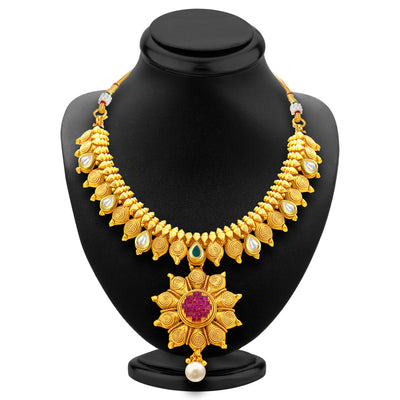 Sukkhi Magnificent Jalebi Gold Plated American Diamond Necklace Set For Women-3