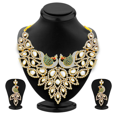 Sukkhi Sleek Peacock Gold Plated AD Necklace Set For Women-1