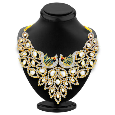 Sukkhi Sleek Peacock Gold Plated AD Necklace Set For Women-3