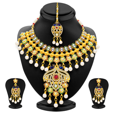 Sukkhi Ritzy Peacock Gold Plated Kundan Necklace Set For Women