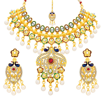 Sukkhi Ritzy Peacock Gold Plated Kundan Necklace Set For Women-1