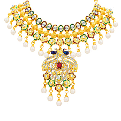 Sukkhi Ritzy Peacock Gold Plated Kundan Necklace Set For Women-3