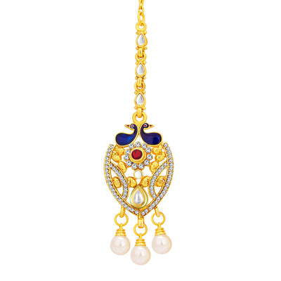 Sukkhi Ritzy Peacock Gold Plated Kundan Necklace Set For Women-7