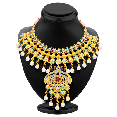 Sukkhi Ritzy Peacock Gold Plated Kundan Necklace Set For Women-2