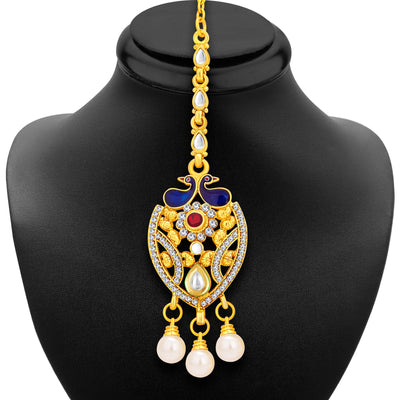 Sukkhi Ritzy Peacock Gold Plated Kundan Necklace Set For Women-6