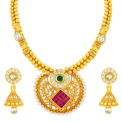 Sukkhi Elegant Invisible Setting Gold Plated American Diamond Necklace Set For Women