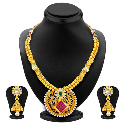 Sukkhi Elegant Invisible Setting Gold Plated American Diamond Necklace Set For Women-1